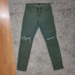 Distressed Green Denim Stretch Jeans